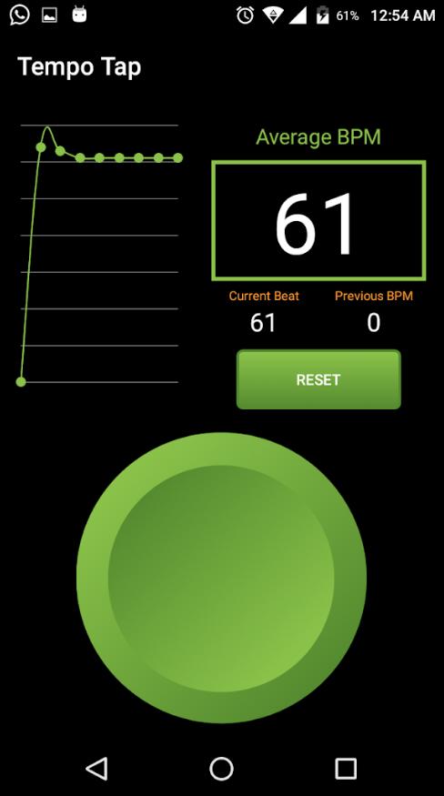Oberfläche der Temp Tap App mit einem großen grünen Button zum Bestimmen der Geschwindigkeit