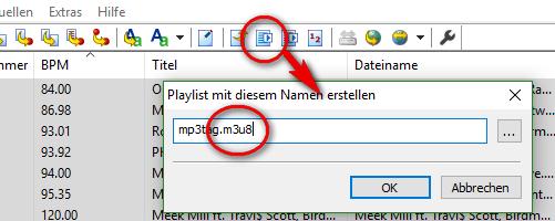 Oberfläche von MP3Tag, das zeigt, wo man eine Playlist erstellen kann